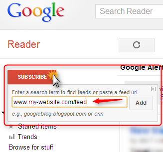 Add new feed to Google Reader