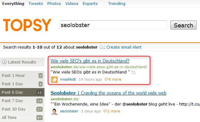 "Suche bei Topsy nach ""Seolobster"""