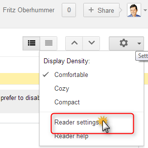 Go to Google Reader Settings